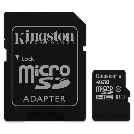 Kingston 4GB Micro SDHC (MicroSD) Memory Card Inc Adapter U1 10MB/s