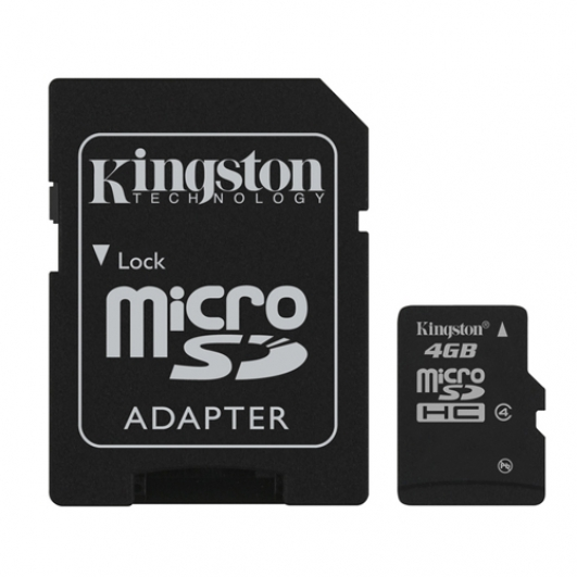 Kingston 4GB microSDHC (microSD) Memory Card Inc Adapter 4MB/s