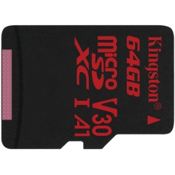 Kingston 64GB Canvas React Micro SD (SDXC) Card U3, V30, A1, 100MB/s R, 80MB/s W