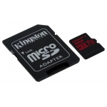 Kingston 32GB Canvas React microSDHC Memory Card Inc Adapter U3 100MB/s V-Class 30 A1