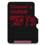Kingston 512GB Canvas React microSDXC Card U3 V30 A1 100MB/s R 80MB/s W