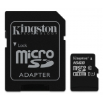 Kingston 16GB Canvas Select microSDHC (microSD) Memory Card Inc Adapter U1 80MB/s