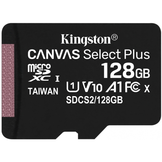 Kingston 128GB Canvas Select Plus Micro SD (SDXC) Card U1, V10, A1, 100MB/s R, 10MB/s W