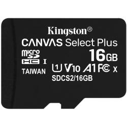 Kingston 16GB Canvas Select Plus Micro SD (SDHC) Card U1, V10, A1, 100MB/s R, 10MB/s W
