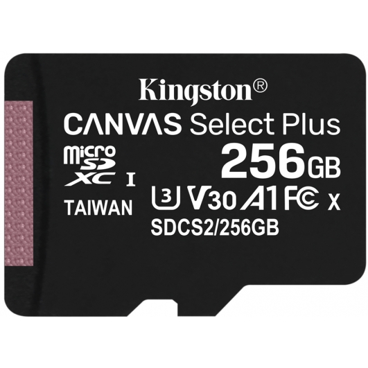 Kingston 256GB Canvas Select Plus Micro SD (SDXC) Card U3, V30, A1, 100MB/s R, 85MB/s W
