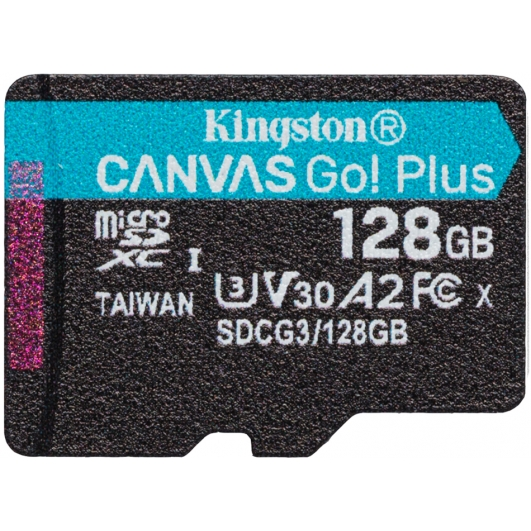 Kingston 128GB Canvas Go Plus Micro SD (SDXC) Card U3, V30, A2, 170MB/s R, 90MB/s W