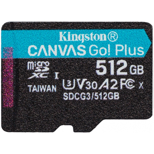 Kingston 512GB Canvas Go Plus Micro SD Card - U3, V30, Up To 170MB/s