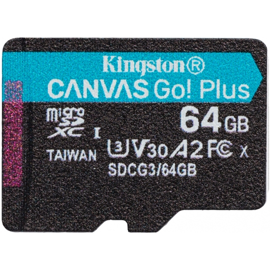 Kingston 64GB Canvas Go Plus Micro SD (SDXC) Card U3, V30, A2, 170MB/s R, 70MB/s W