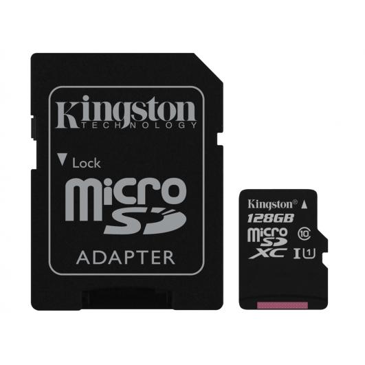 Kingston 128GB Micro SDXC Memory Card Inc Adapter U1 45MB/s G2