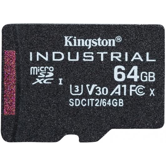 Kingston 64GB Industrial Micro SD (SDXC) Card U3, V30, A1, 100MB/s R, 80MB/s W