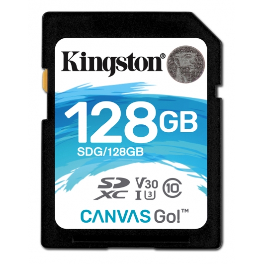 Kingston 128GB Canvas Go SDXC (SD) Memory Card U3 90MB/s V-Class 30