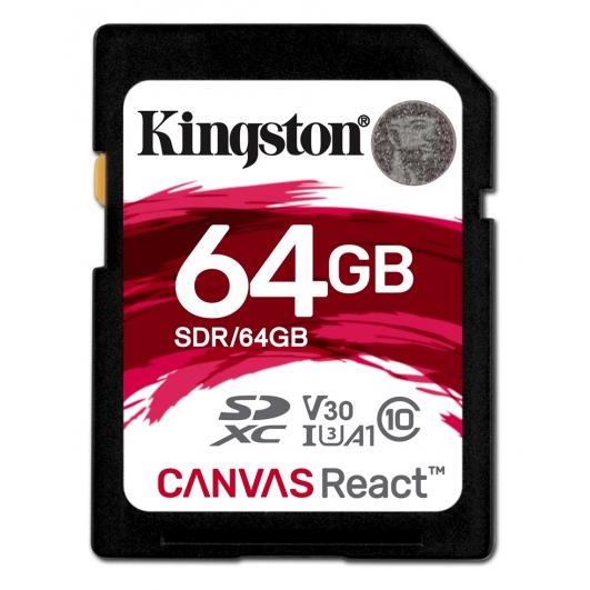 Kingston 64GB Canvas React SDXC (SD) Memory Card U3 100MB/s V-Class 30 A1
