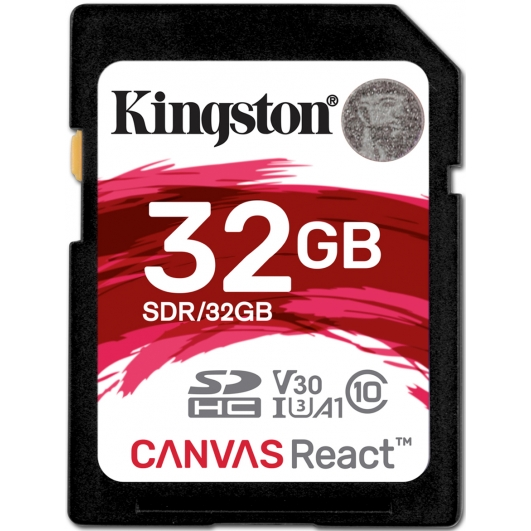 Kingston 32GB Canvas React SD (SDHC) Card U3, V30, A1, 100MB/s R, 80MB/s W