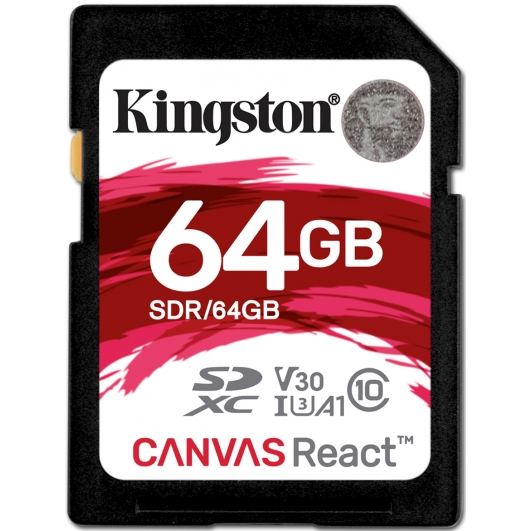 Kingston 64GB Canvas React SD (SDXC) Card U3, V30, A1, 100MB/s R, 80MB/s W