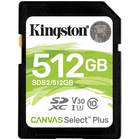 Kingston 512GB Canvas Select Plus SD (SDXC) Card U3, V30, 100MB/s R, 85MB/s W