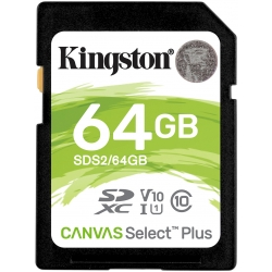 Kingston 64GB Canvas Select Plus SD (SDXC) Card U1, V10, 100MB/s R, 10MB/s W