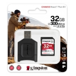 Kingston 32GB Canvas React Plus SD (SDHC) Card UHS-II, U3, V90, 300MB/s R, 260MB/s W