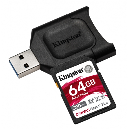 Kingston 64GB Canvas React Plus SD (SDXC) Card UHS-II, U3, V90, 300MB/s R, 260MB/s W