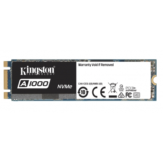Kingston 960GB A1000 SSD M.2 (2280), NVMe, PCIe 3.0 (x2), 1500MB/s R, 1000MB/s W
