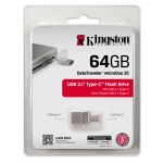Kingston 64GB DataTraveler MicroDuo Flash Drive USB 3.1, Gen1, 100MB/s
